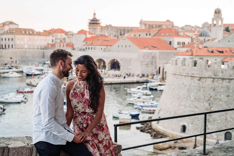 Overlooking the Dubrovnik Old harbour after the secret proposal